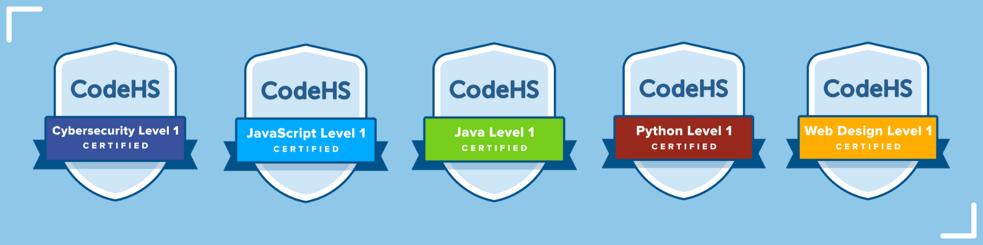 badges labeled with different codehs certifications