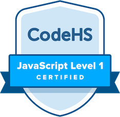 badge titled CodeHS JavaScript level 1 Certified