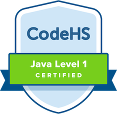 badge labeled CodeHS java level 1 certified