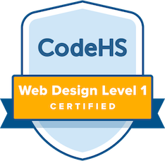 badge labeled codeHS and web design level 1 certified