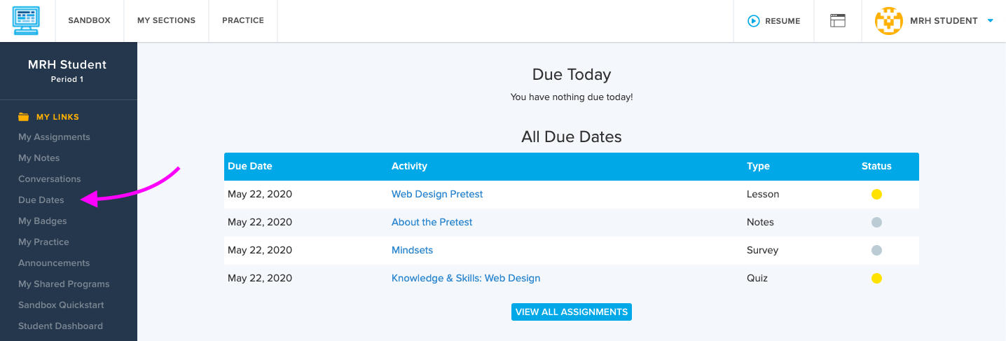 Screenshot highlighting the Due Dates tab available to students if their teachers have set a due date