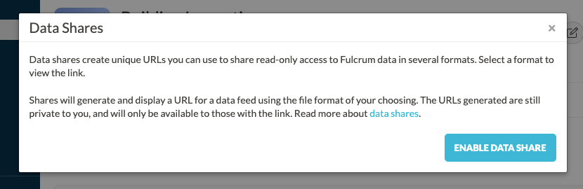 Data share modal