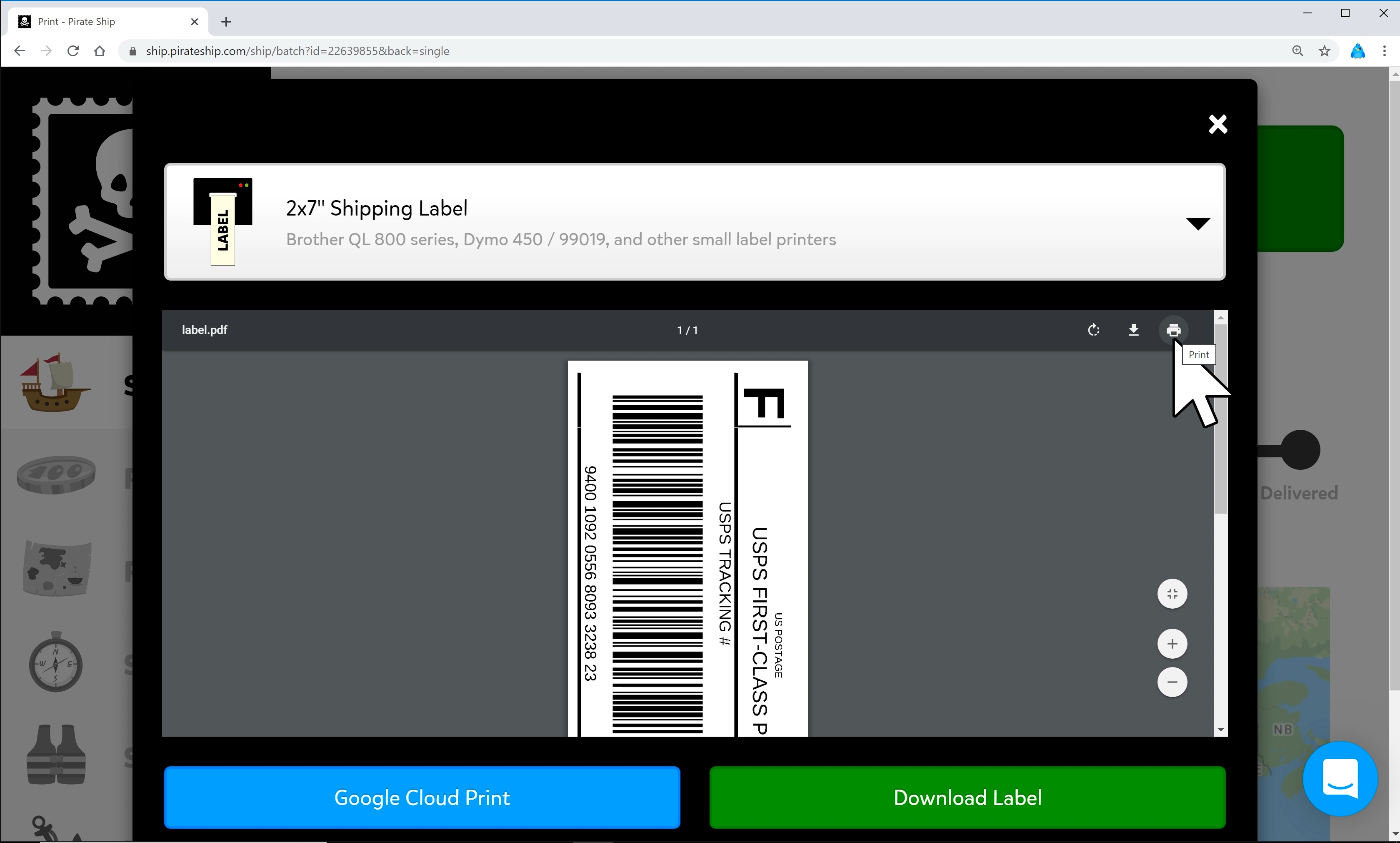 Screenshot of the 'Print Label' dialogue window on Google Chrome, with the mouse hovering over the label and pointing at a printer icon in the top right corner of the label preview.