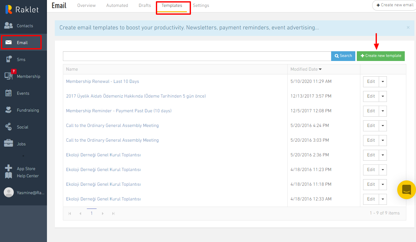 To create an Email template, go to the Email section and click Templates, then click Create new template