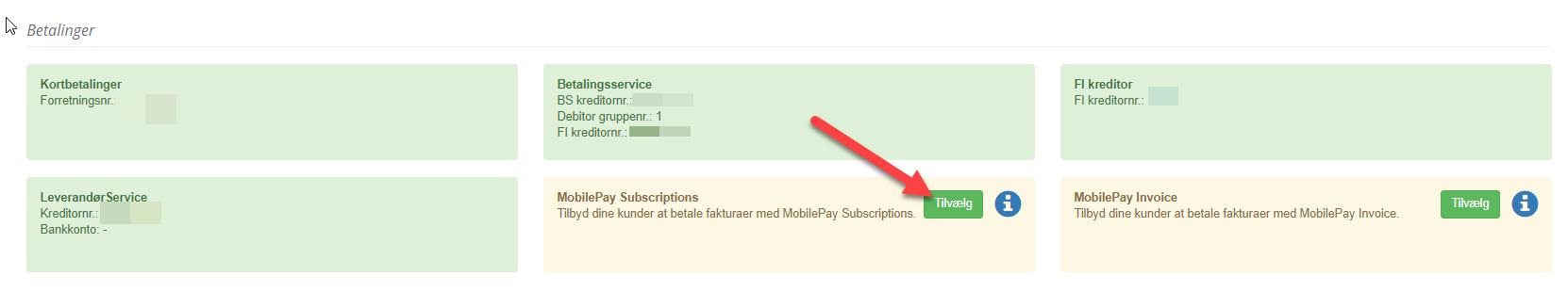 Tilvælg MobilePay Subscriptions