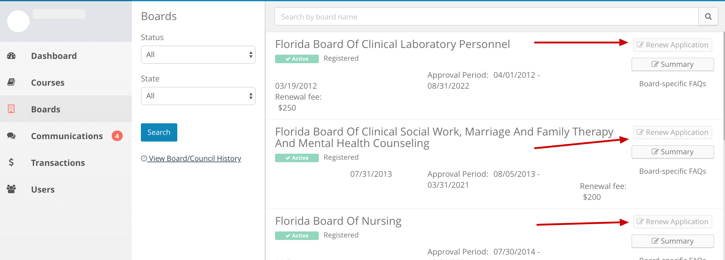 Screenshot of a provider account displaying the list of approving Boards. Arrows point to the Renew Application button next to each applicable board.