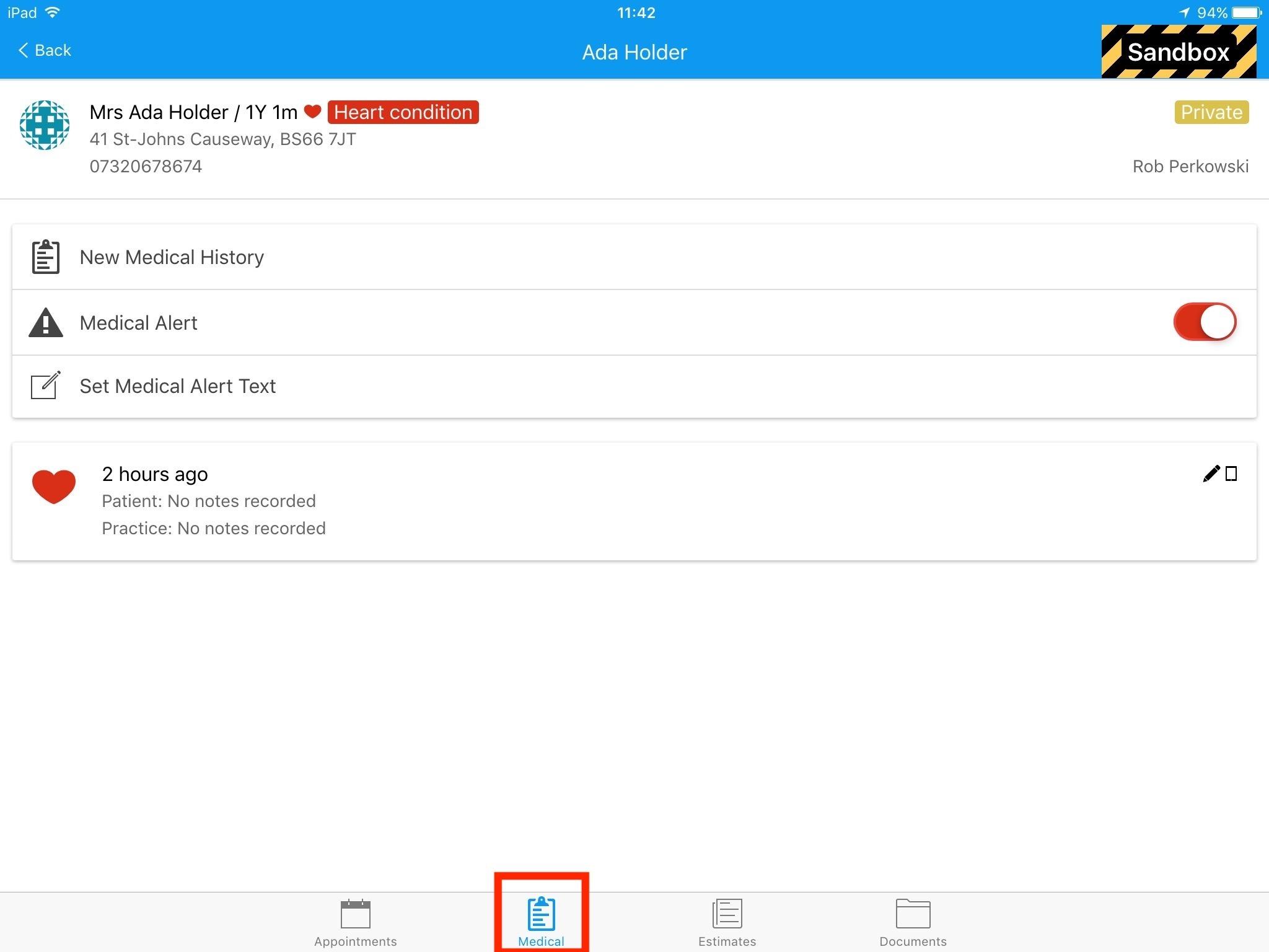 Dentally iPad Medical History Patient Record