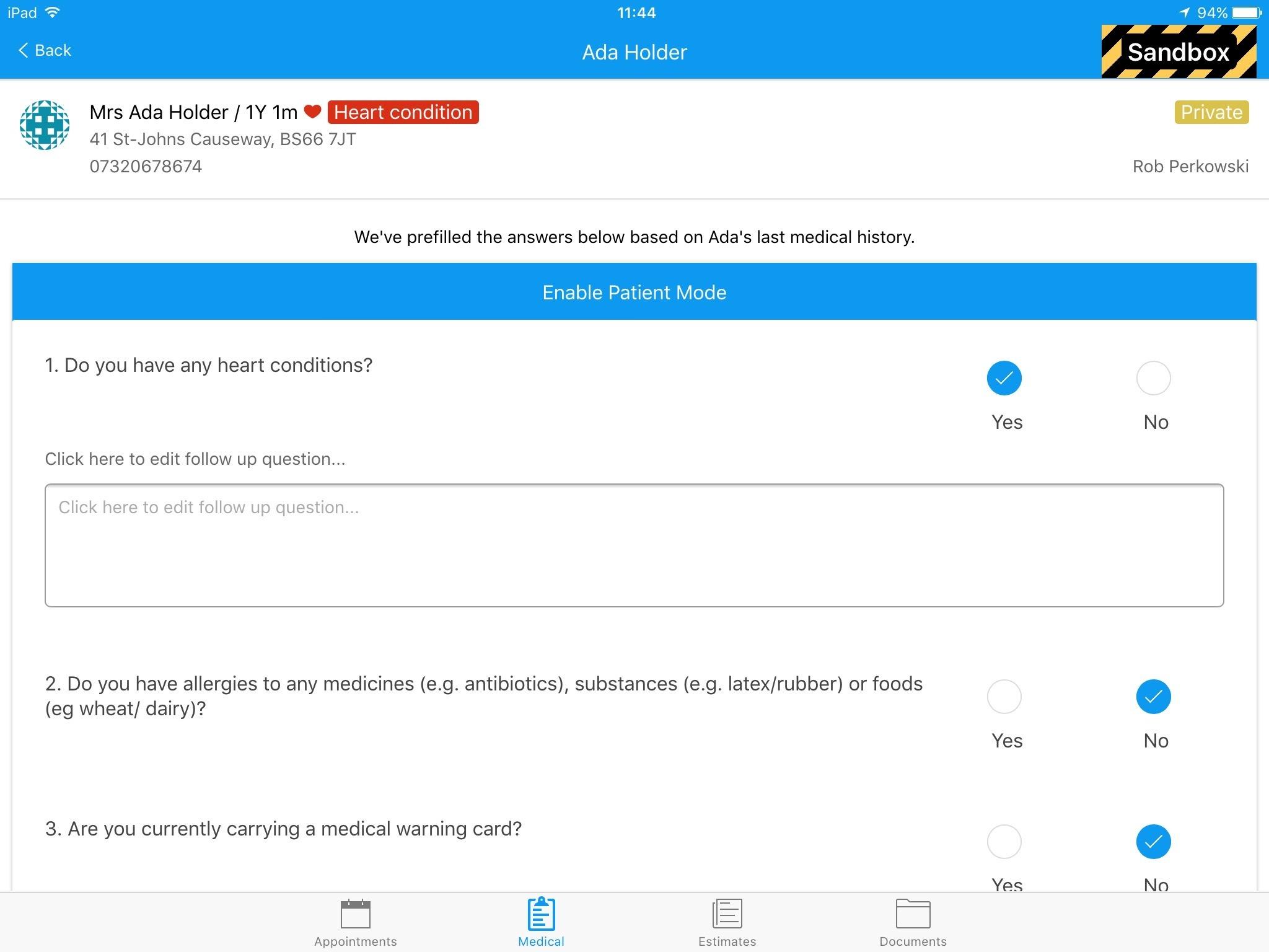 Dentally iPad medical history questions