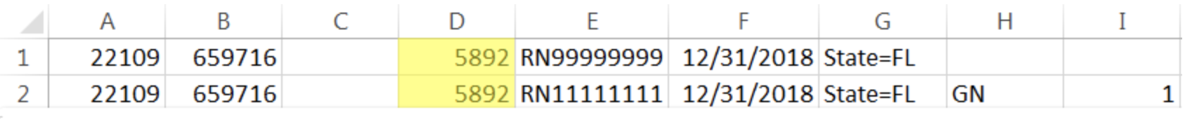 The same example roster with Column D being used in both rows for the CE Broker Publishing Number.