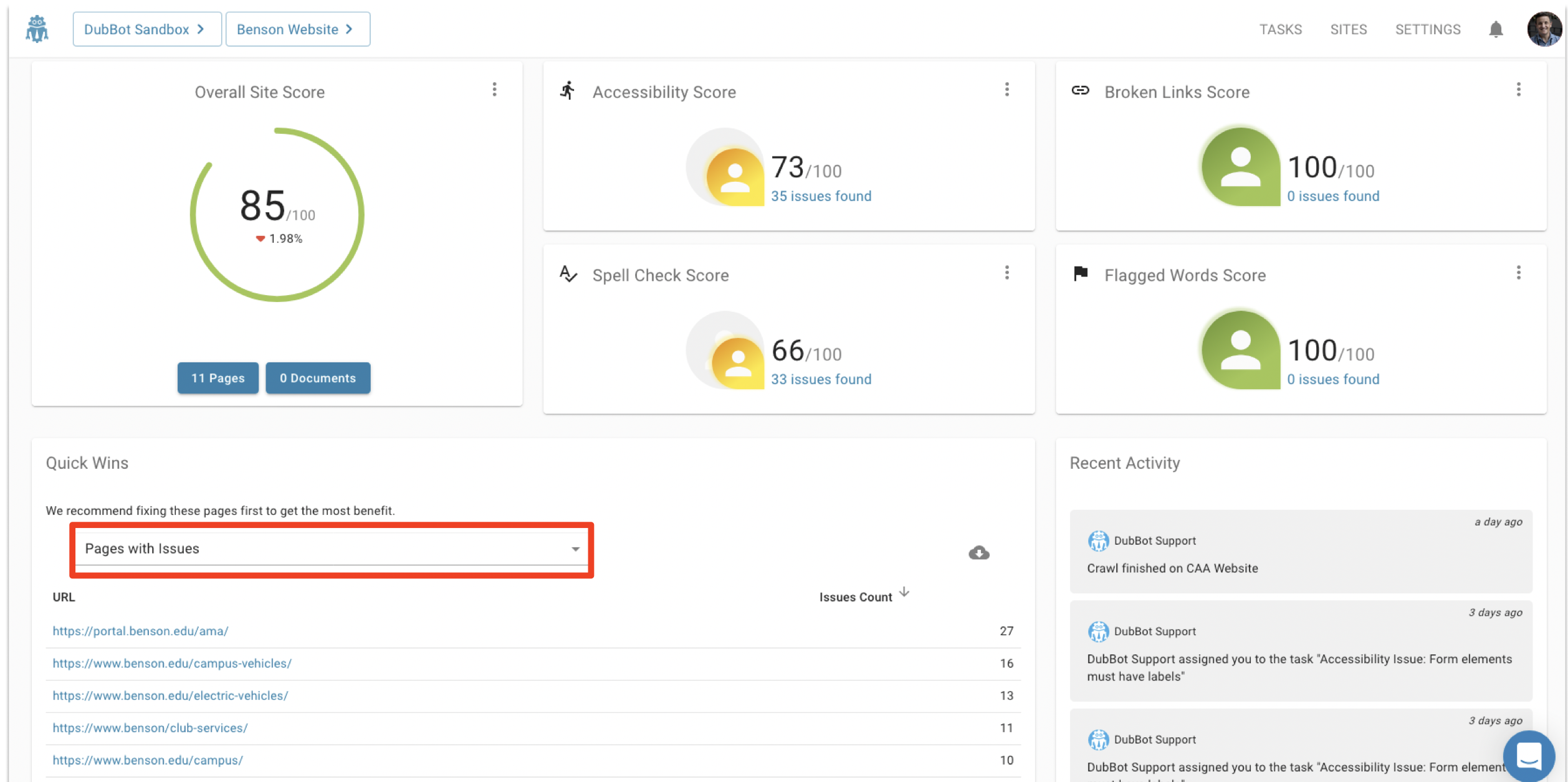 In Site Dashboard view, inside of the Quick Wins panel, the