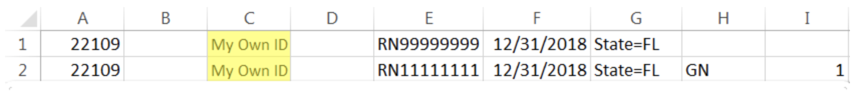 The same example roster with your own course ID in Column C. Column B is blank.