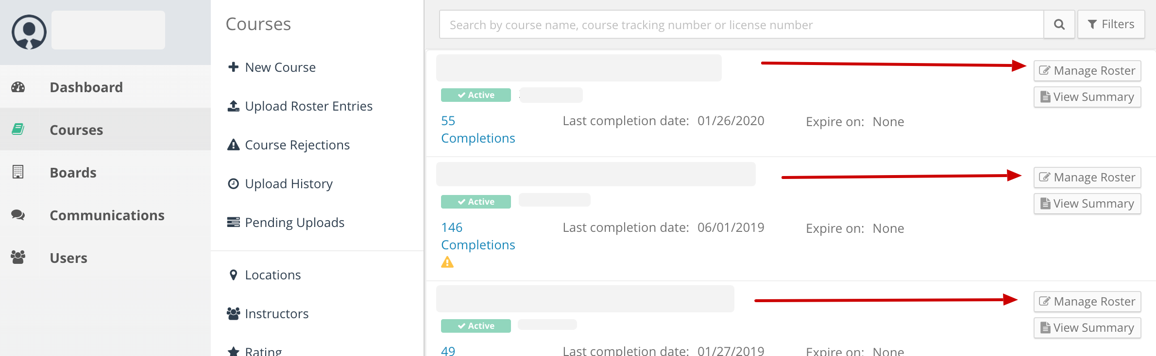 Screenshot of a provider course list page. Arrows point to the Roster buttons next to each course.
