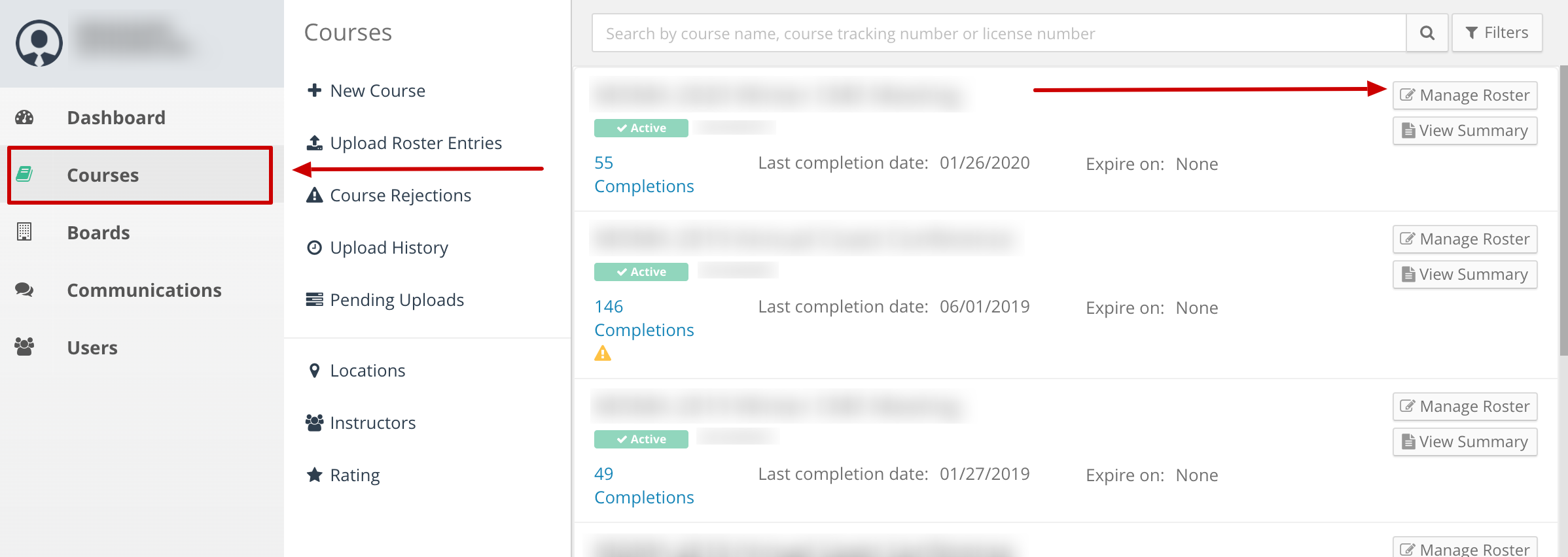 Screenshot of a provider account with an arrow pointing to the courses link. Another arrow points to a button next to a course that says Manage Roster.