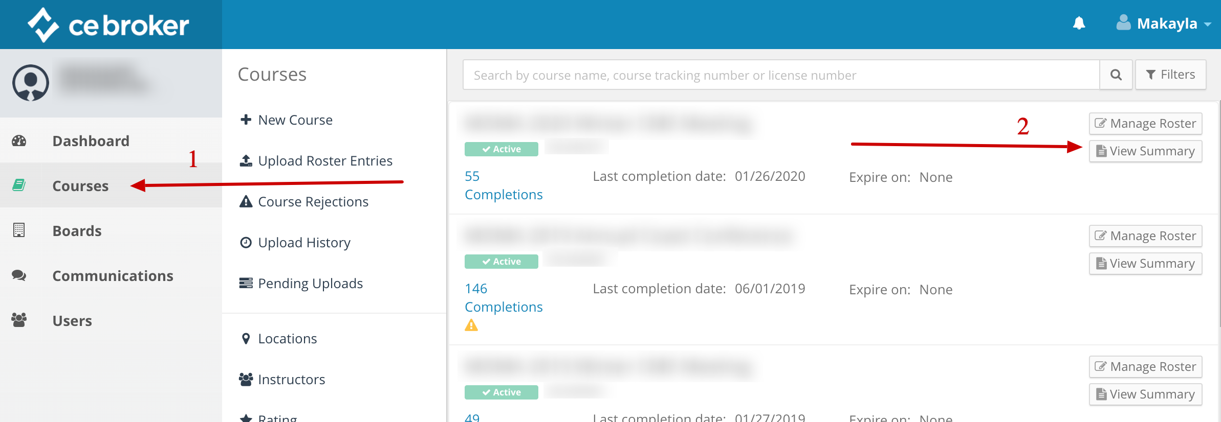 Screenshot of a provider account. An arrow points to the Courses link on the left. Another arrow points to a button that says View Summary.