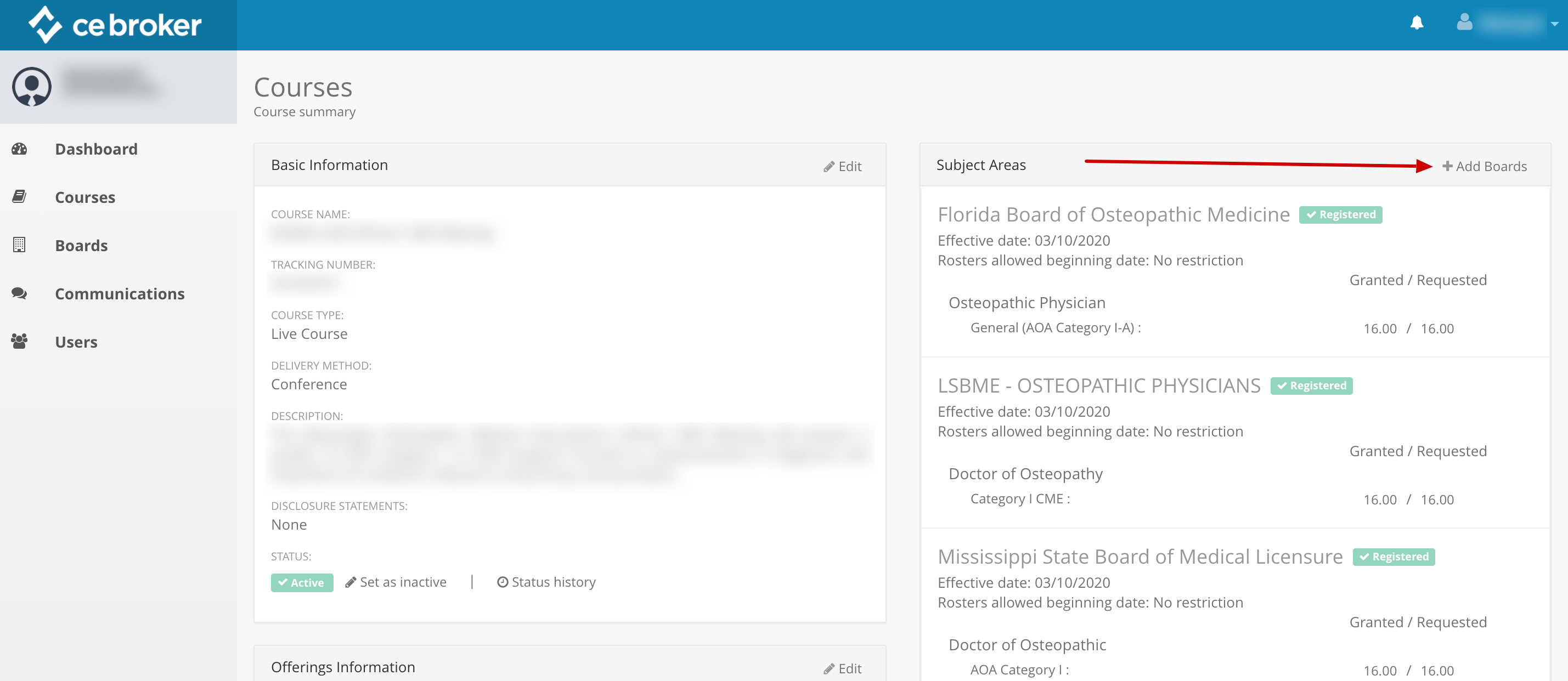 Screenshot of a course summary page. An arrow points to a link next to the Subject Areas that says Add Boards.