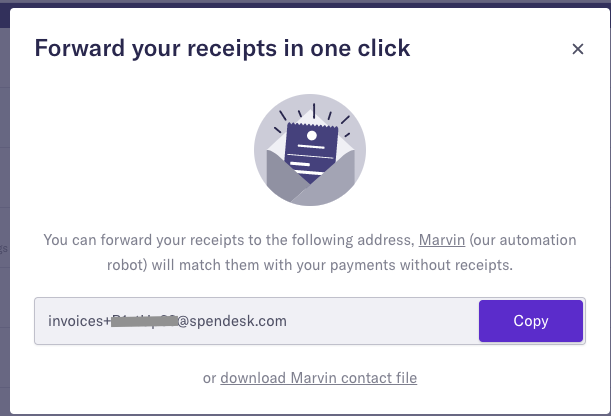 Forward your receipts in one click