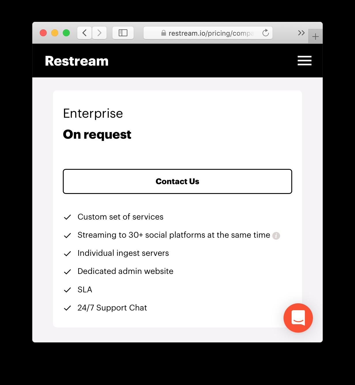 Restream Enterprise subscription plan