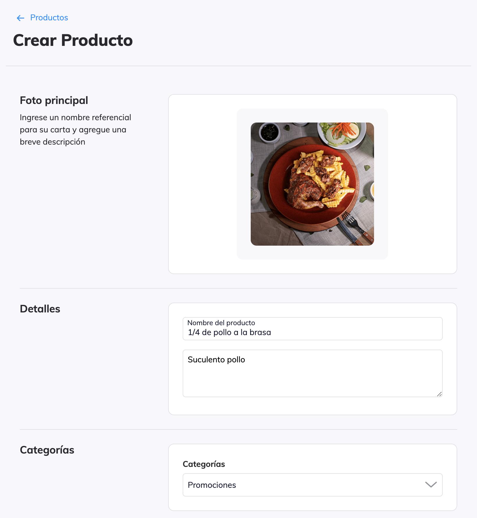 Creación de un producto
