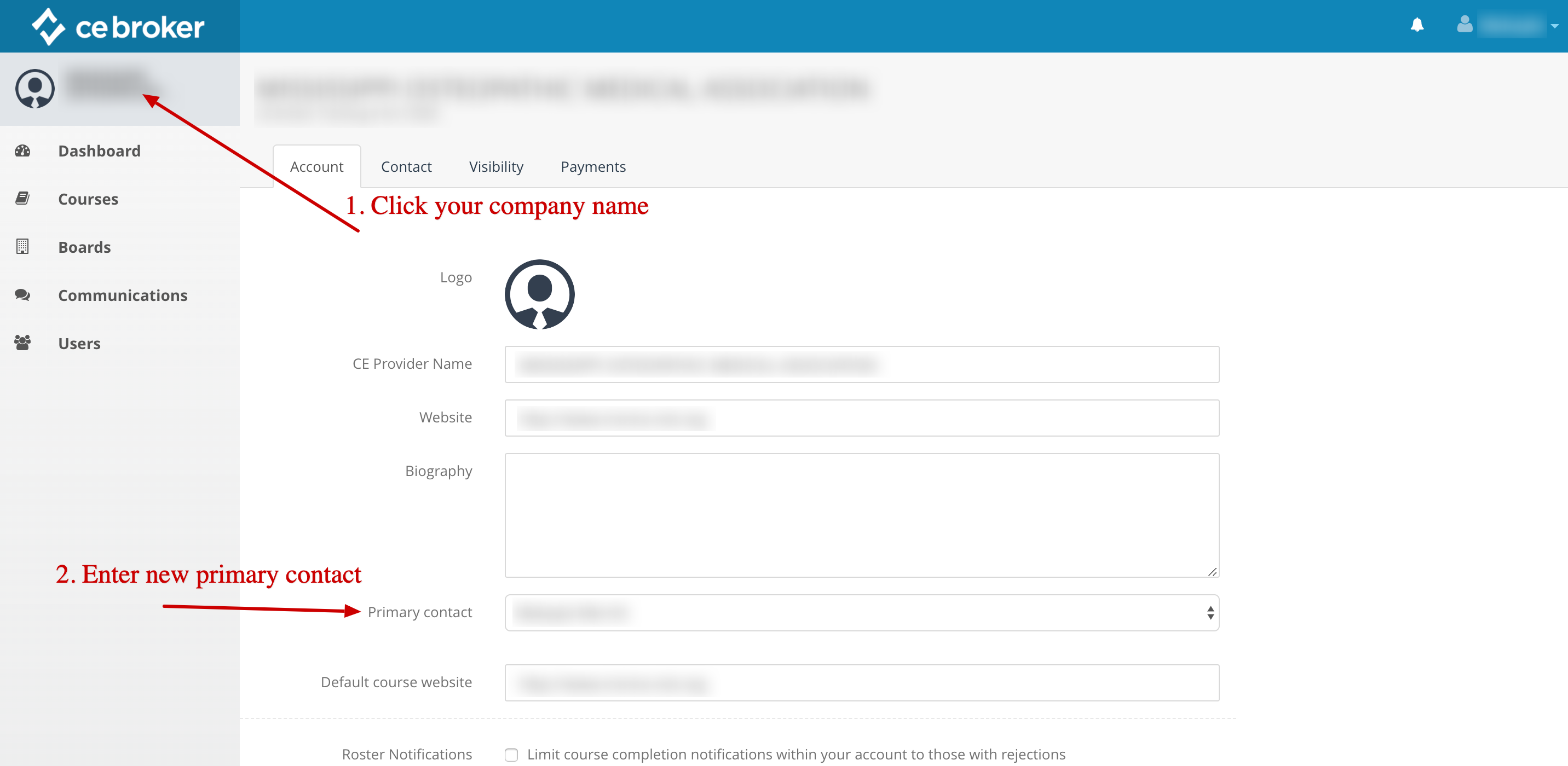Screenshot of a provider account. An arrow points to the company name in the top left corner. Another arrow points to a text box labeled Primary Contact.