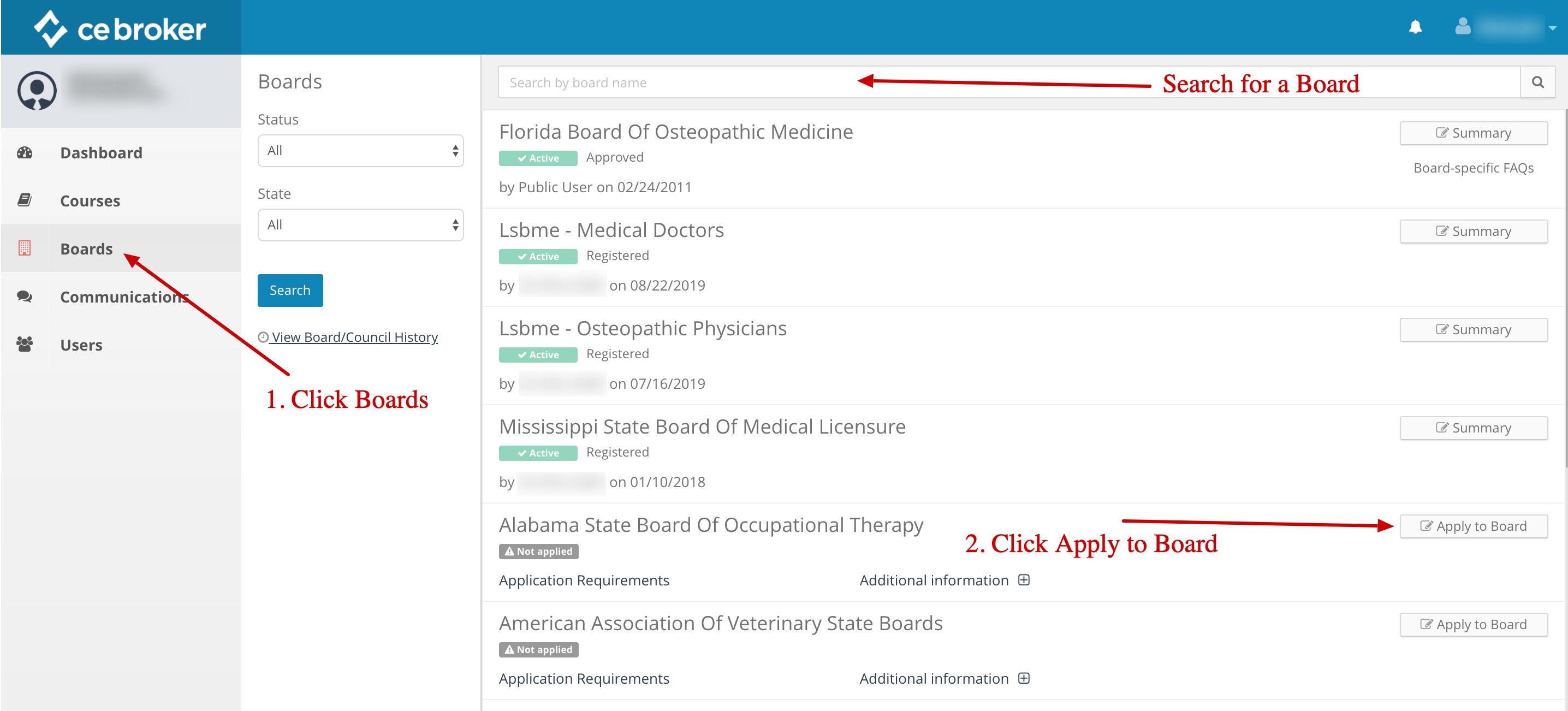 Screenshot of a provider account. An arrow points to the Boards link on the left. Another arrow indicates the search bar that can be used to search for boards. Another arrow points to a button that says Apply to Board.
