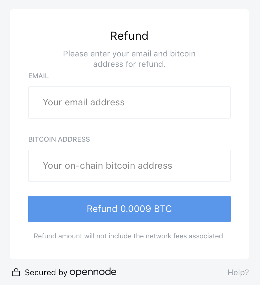An Image of the refund to a payer from OpenNode