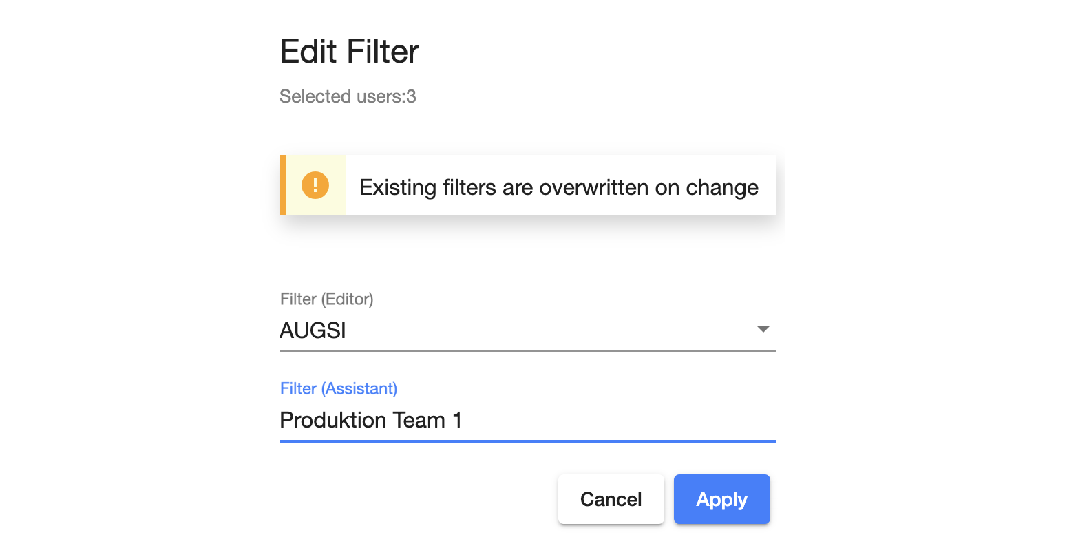 Assign filter or role.
