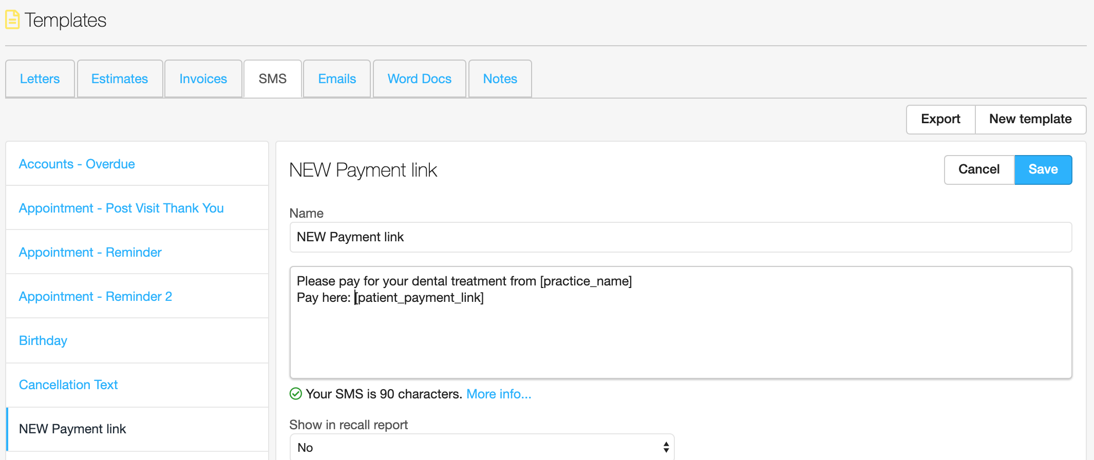 Dentally payment link SMS Template