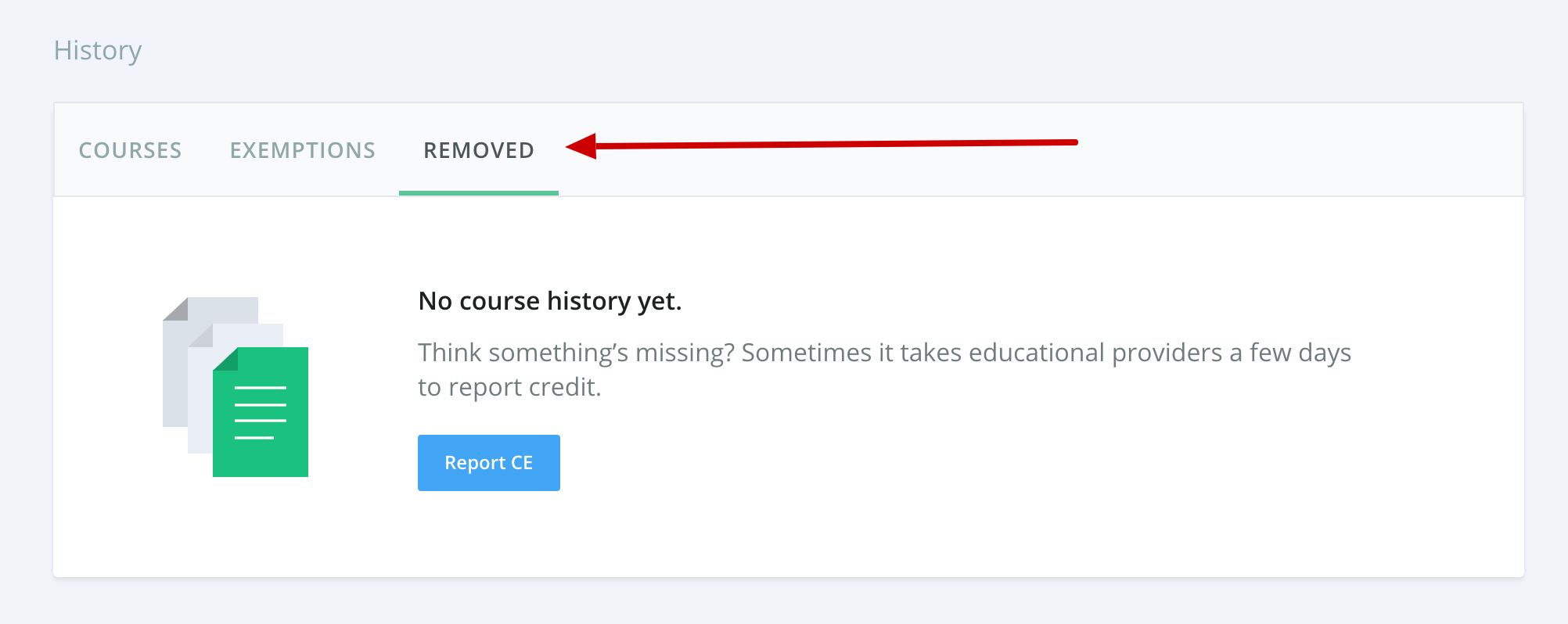 Screenshot of the course history with an arrow pointing to a tab that says Removed.