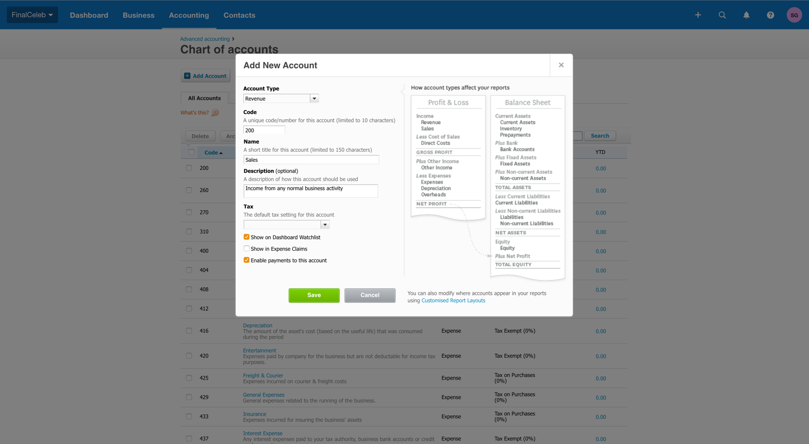 Specifying the account type and code on Xero