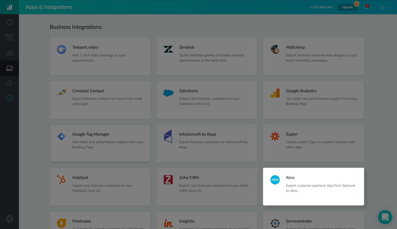 The Xero integration card under Apps & Integrations