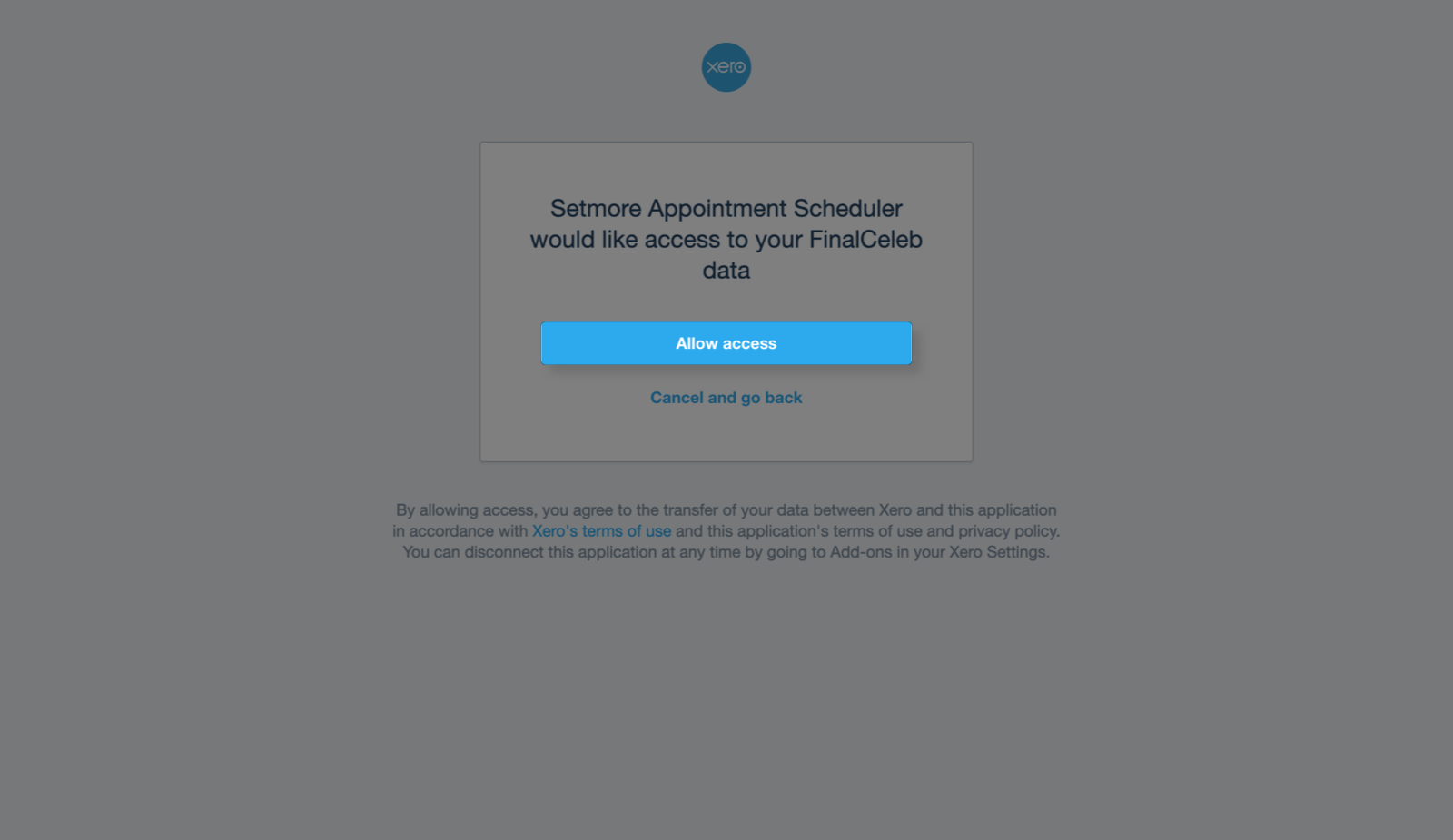 Graning access for Setmore to export payment invoices to Xero