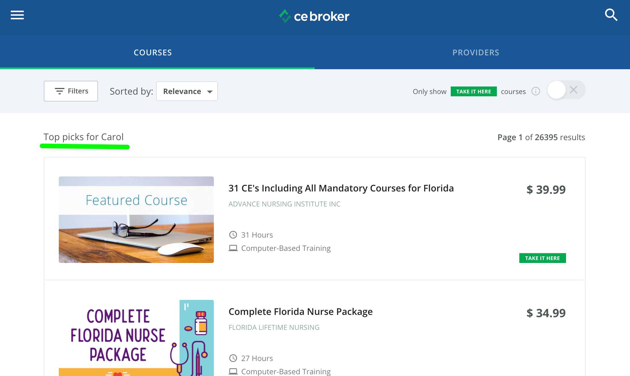 Screenshot of the course history page. The top picks section shows some course bundles for this profession.