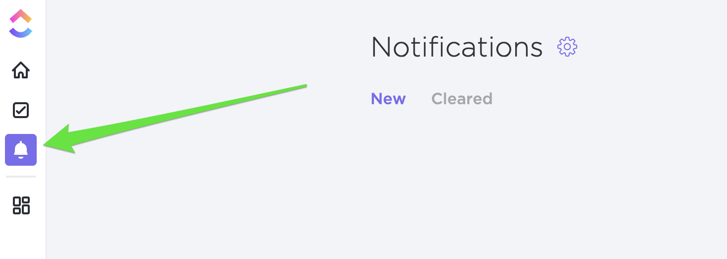 Image shows location of bell icon for notifications.