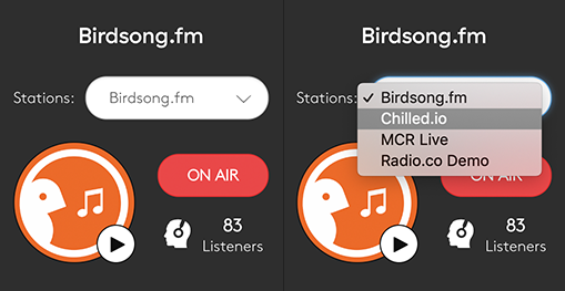 Drop down - switch between stations under the same log in