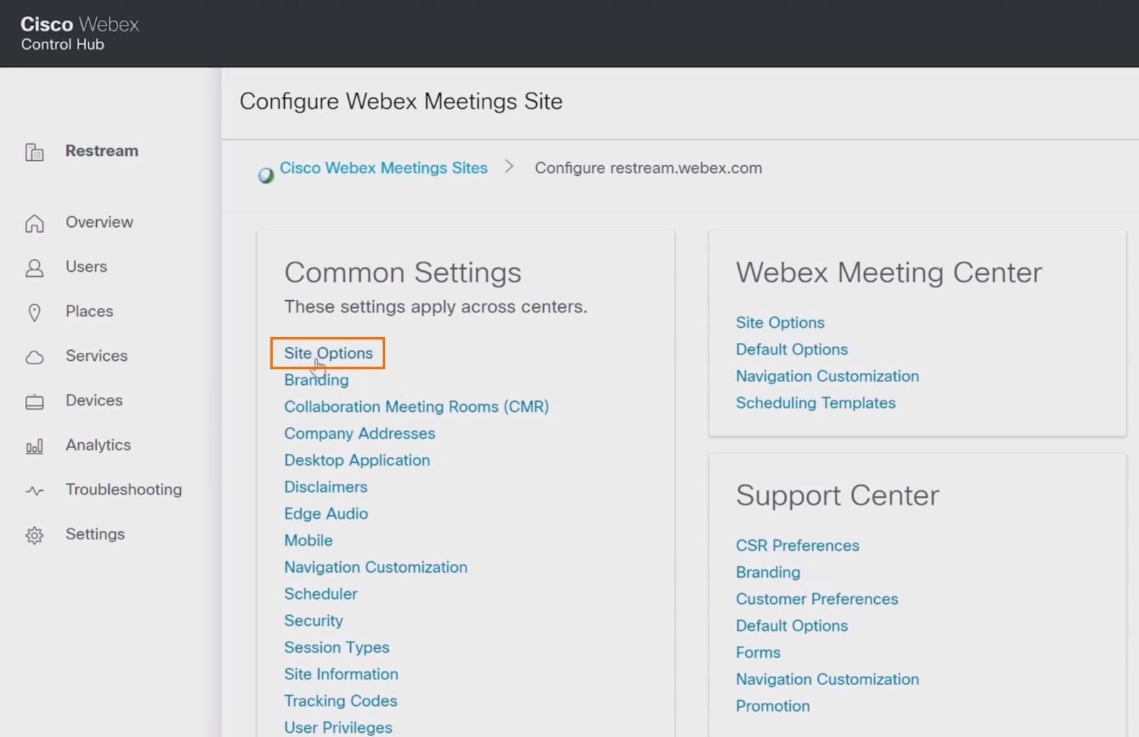 Webex common settings