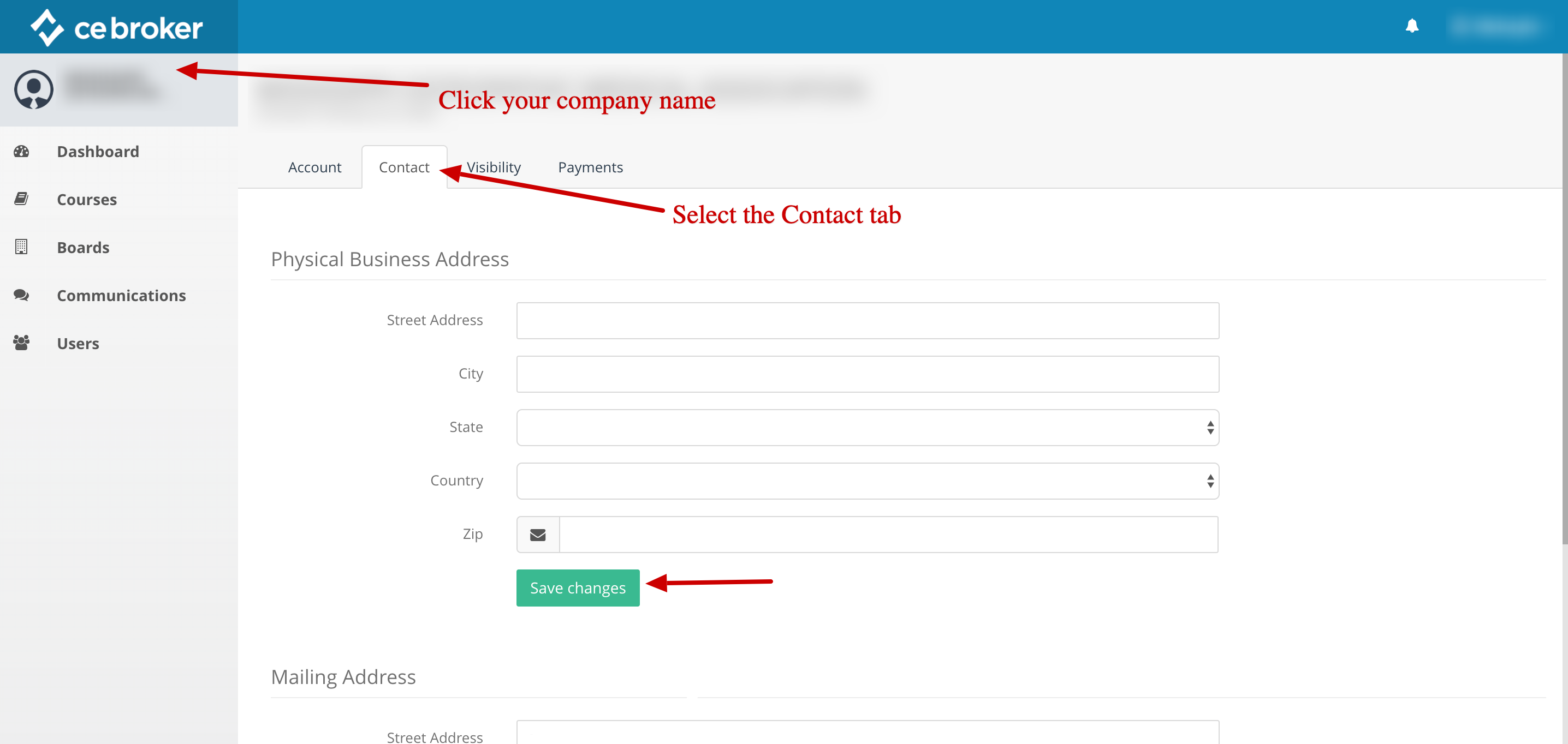 Screenshot of a provider account with arrows pointing to the company name, the contact tab, and a button that says Save Changes.