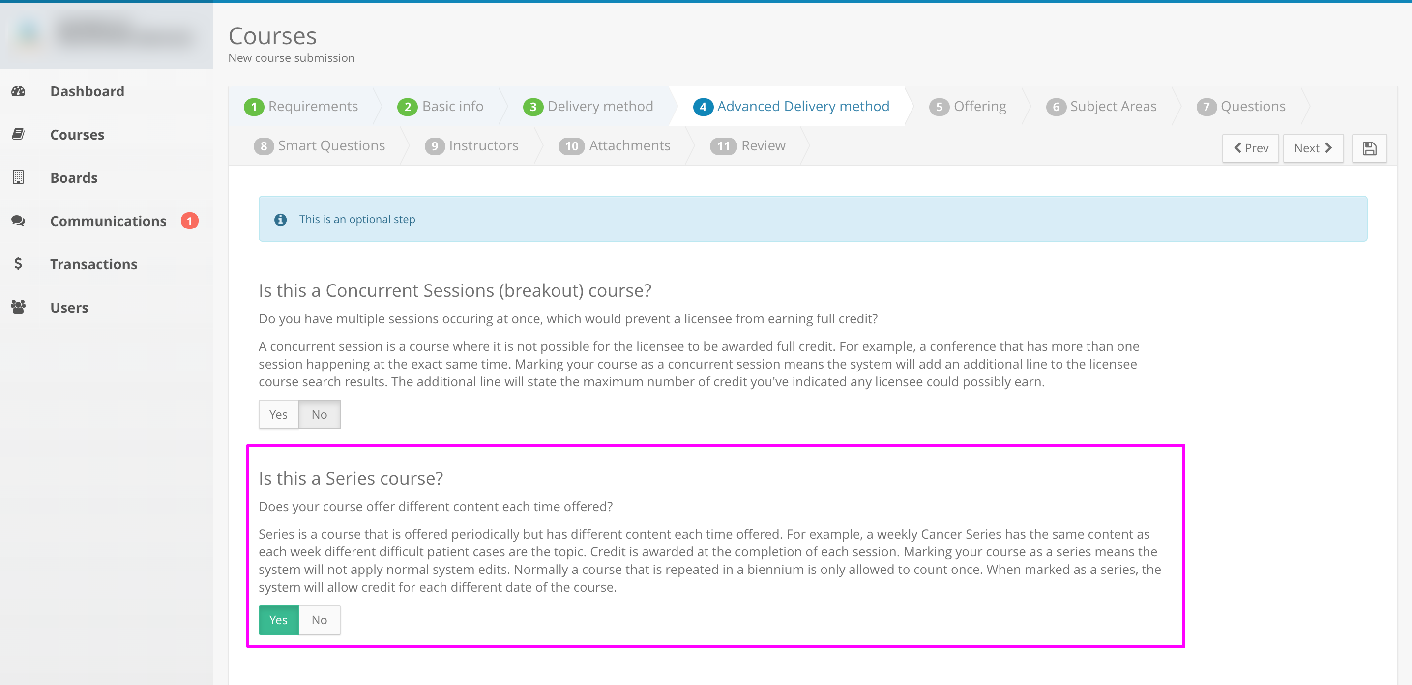 Screenshot of Step 4 on an example course application. The word yes is highlighted under the series question.