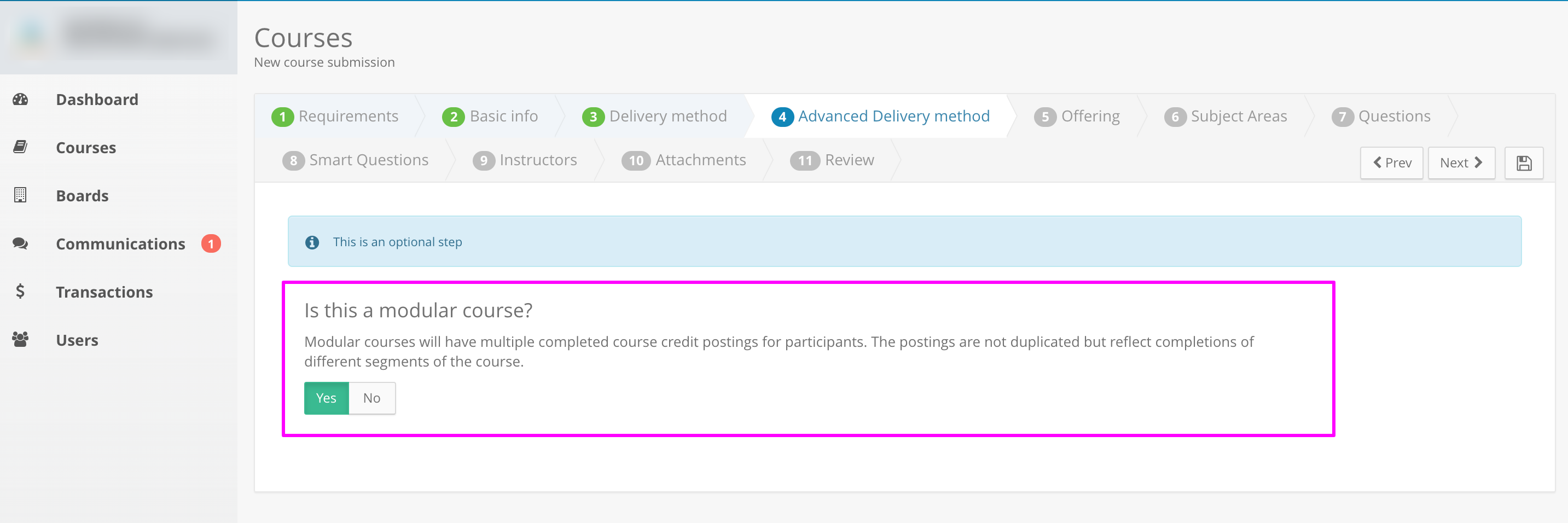 Screenshot of an example course application. The word Yes is highlighted under the modular course question.