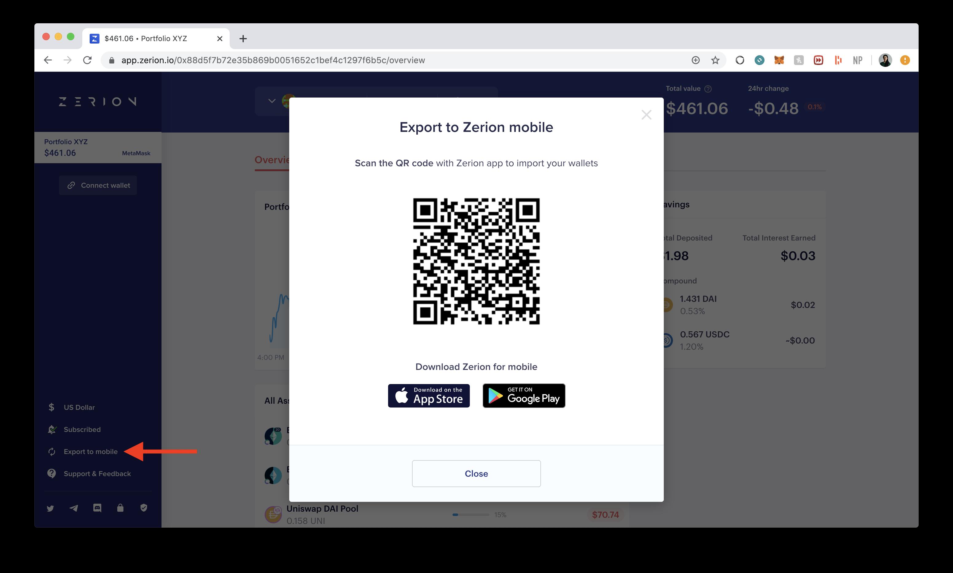 Export Zerion wallet to mobile app