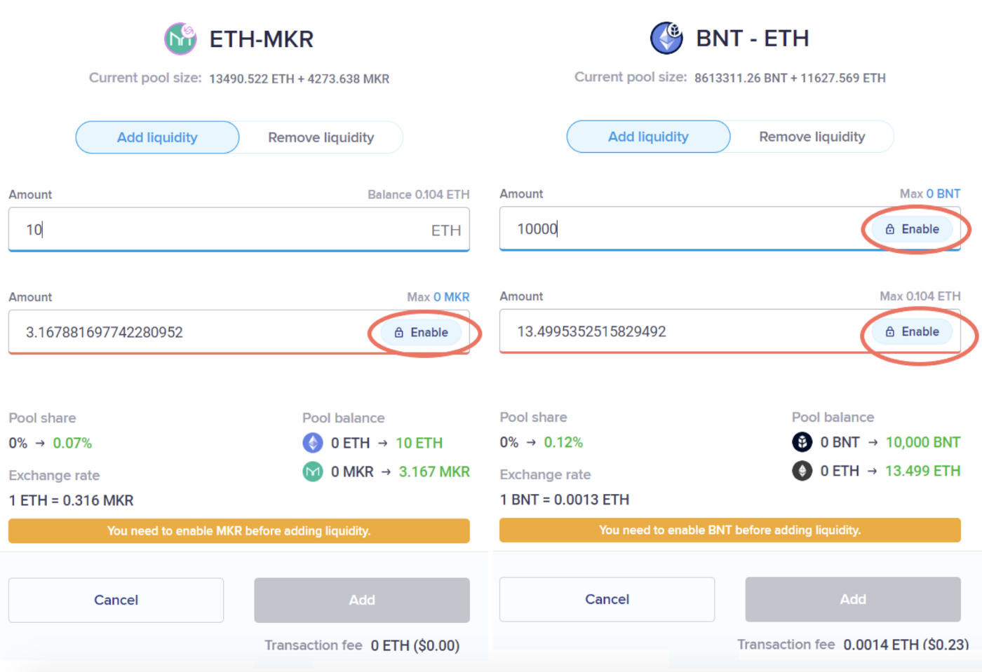 ETH-MKR and BNT-ETH liquidity pools