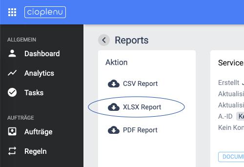 XLSX Report Auswahl