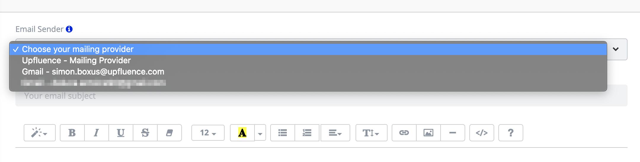Email Sender Selection