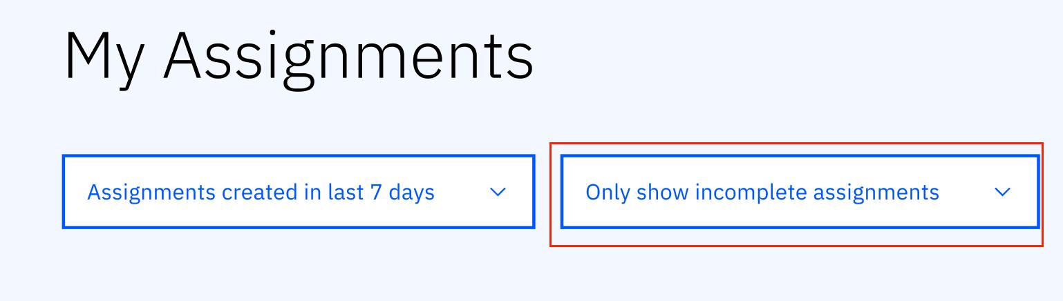 assignment status filter