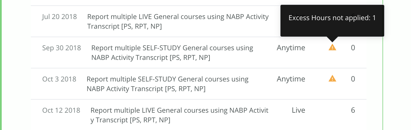 Example of a transcript showing self-study courses marked with 0 hours. A message indicates that the excess hours are not applied.