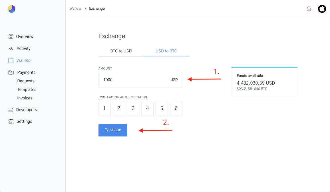 Image of the funds available and 2fa for currency conversion
