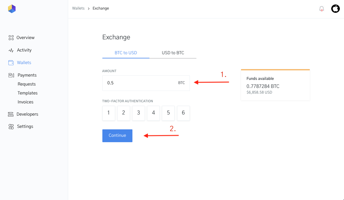 Image of the exchange feature with 2 factor authentication for currency conversion