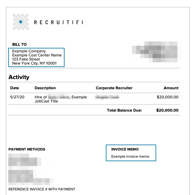 An example invoice with a cost center and invoice memo