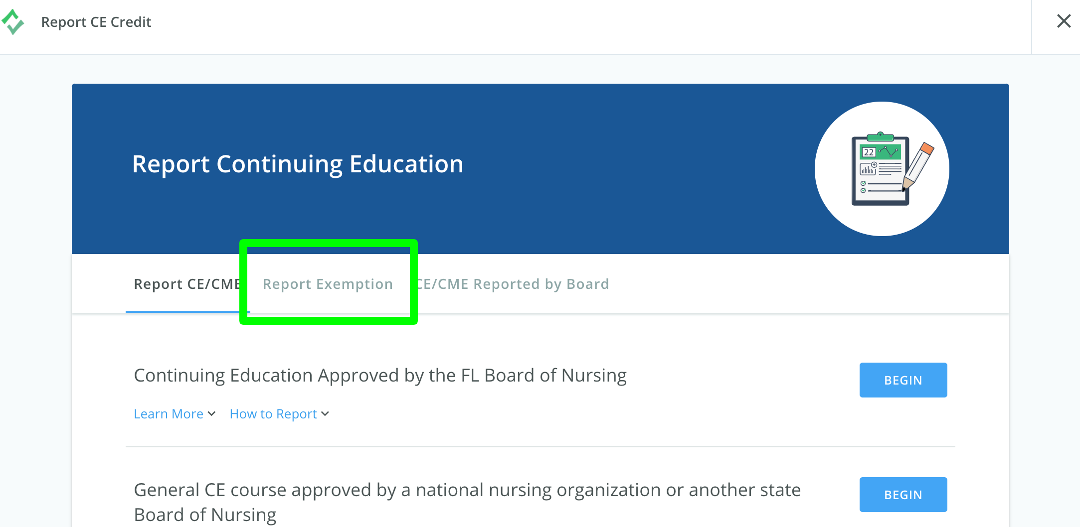 Screenshot of the Report Continuing Education page with the Report Exemptions tab highlighted.