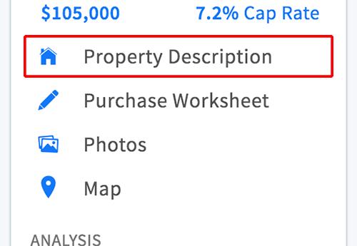 Property Description link in property menu