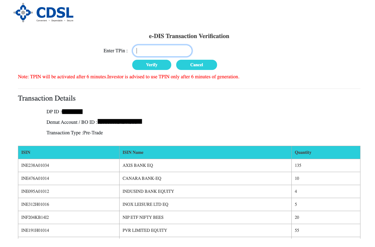 Authorising sell orders using TPIN on CDSL